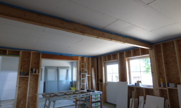 Workshop insulating and drywalling
